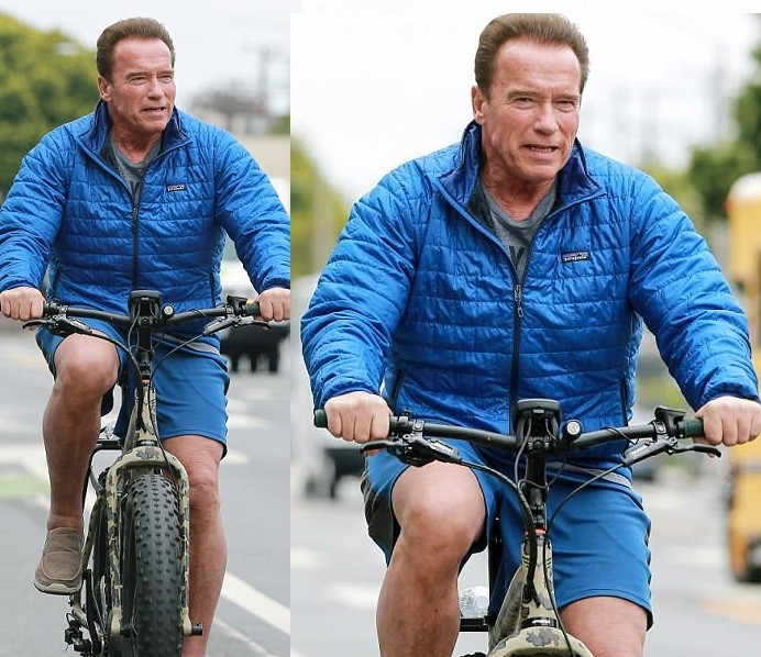 Arnold Schwarzenegger is seen riding a bike in LA just two months after open-heart surgery? (Photos)