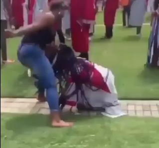 Shocking video shows girl getting beaten up at her graduation while she was still in her graduation robe and cap