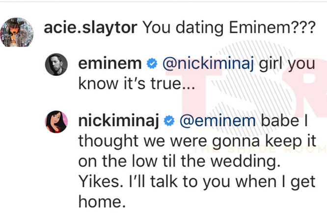 Nicki Minaj and Eminem trolling fans on instagram