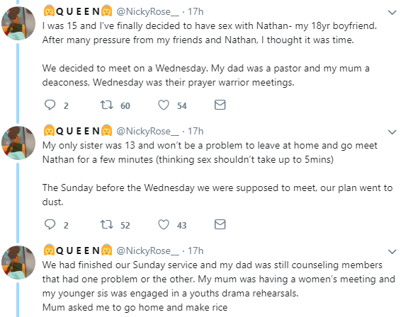 Twitter story: Lady narrates shocking story of how her bornagain parents forced her to have an abortion that has now left her damaged