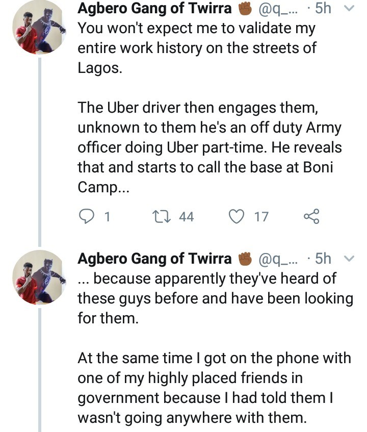 Twitter user reveals how connections saved him from a nasty experience at the hands of SARS officers