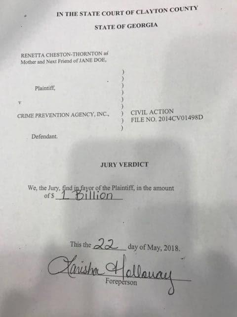 21-year-old rape victim awarded $1 billion in historic jury verdict