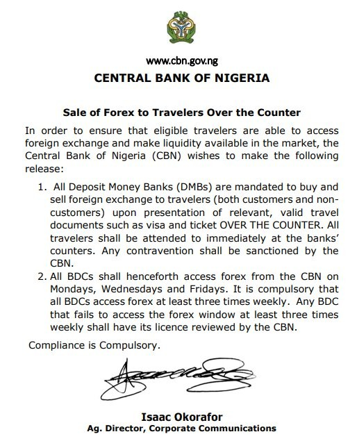 CBN orders banks to sell Forex to travelers across the counter