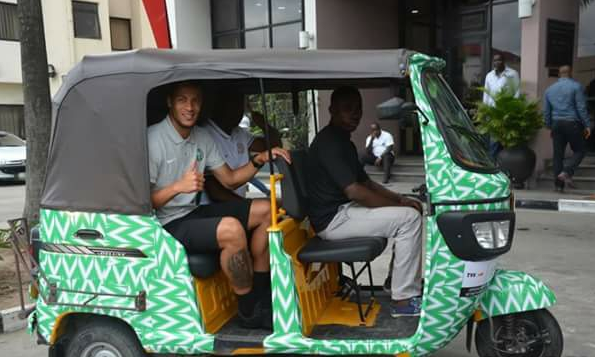 Nigerian footballer William Troost-Ekong spotted inside keke in Port-Harcourt