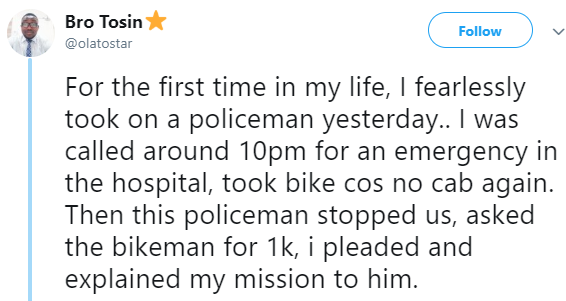 Twitter story: Doctor on an emergency call engages drunk police officer in a fight after he was accused of being an armed robber