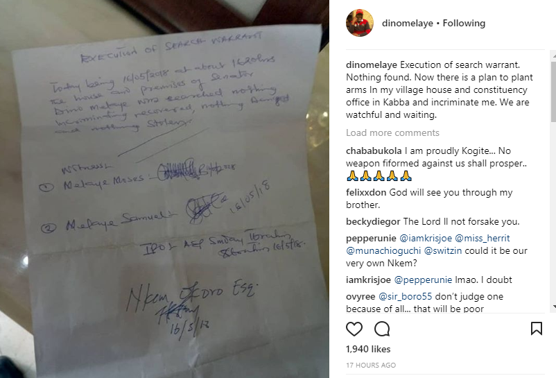 Dino Melaye says there is a plan to plant arms in his village house and constituency office in Kabba to incriminate him
