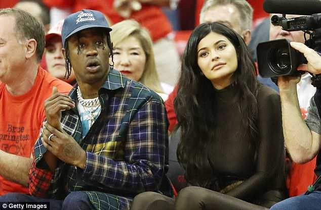 Kylie Jenner joins Travis Scott for NBA playoff game in Houston (Photos)