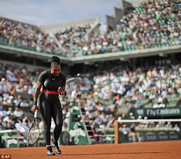Serena Williams defeats Kristyna Pliskova on French Open return while wearing black catsuit (Photos)