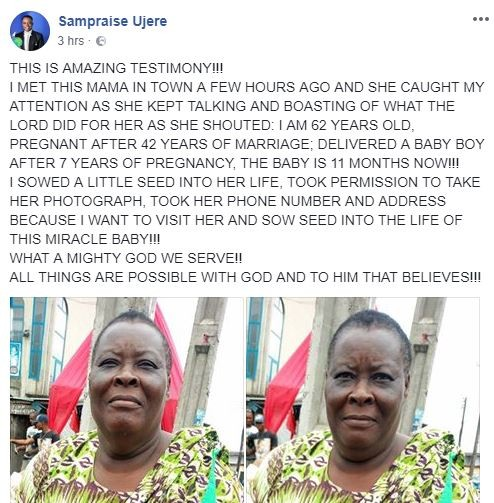 Photo:?62-year old woman allegedly gives birth after 42-years of marriage and 7 years of pregnancy