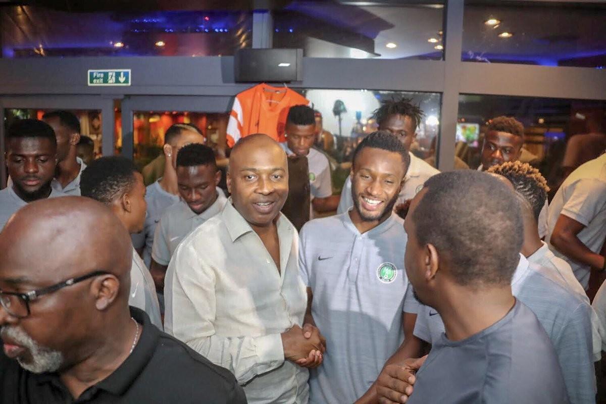 Photos: Senate President, Bukola Saraki, pays surprise visit to Super Eagles camp