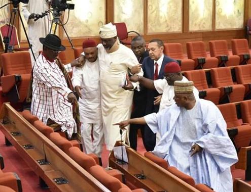 Photos of Dino Melaye at the senate today