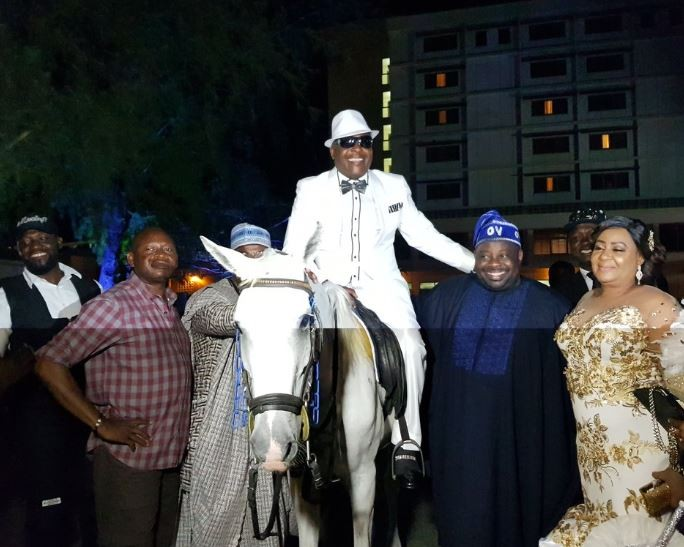 Photo: Sir Shina Peters rides on a white horse to the venue of his 60th birthday