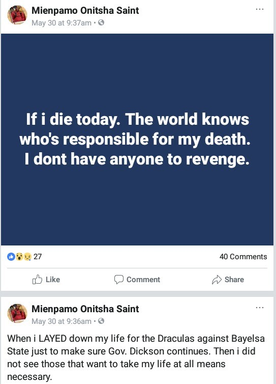 """If i die today the world knows who is responsible for my death""- Blogger and former SA to Governor Dickson cries out"