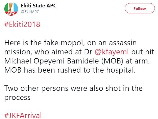 Photos: APC rally in Ekiti turns bloody as Fayemi escapes assassination, Opeyemi Bamidele sustain gunshot wounds and one person reported dead
