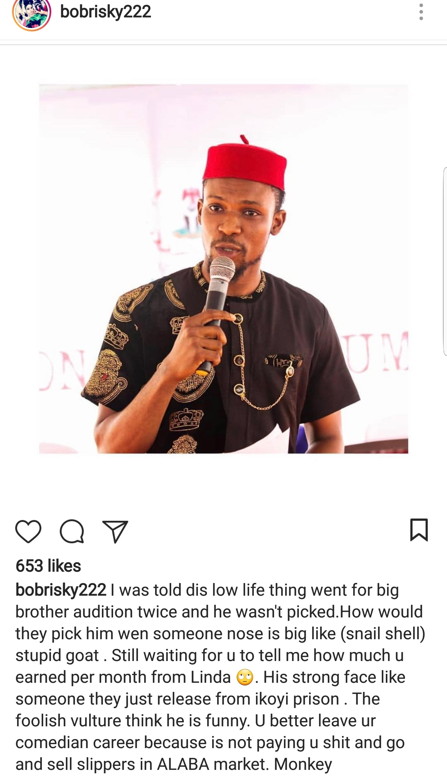 Round 2!... Bobrisky fires back at TV host, Hero Daniel;  Says he is not on his level