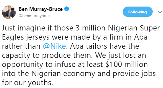 Ben Bruce faults FG awarding contract for production of Super Eagles jersey to Nike, says Aba tailors should have been giving the contract