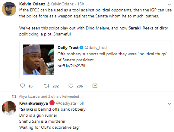 Saraki is trending on twitter...see how Nigerians are reacting to his indictment in Offa bank robbery