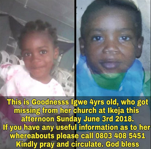 Little girl kidnapped inside church in Lagos (photo)