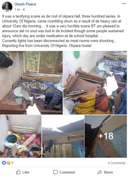 Heavy wind blows off roof of Okpara hostel in UNN, leaving students