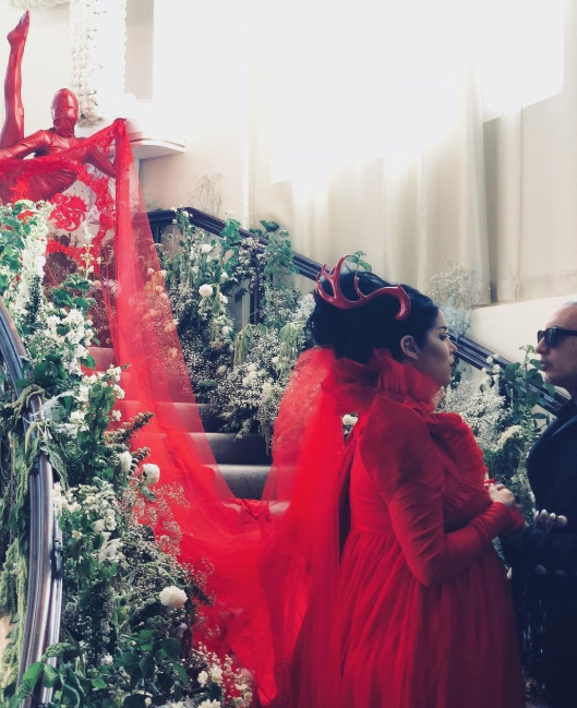Kat Von D marries Rafael Reyes in a red wedding dress with horns