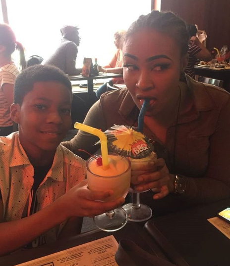 Photos: Doris Simeon pictured with her ex-hubby, Daniel Ademinokan and their son in the US