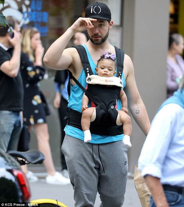 Alexis Ohanian takes daughter Olympia out grocery shopping in Paris hours after wife Serena Williams pulls out of French Open