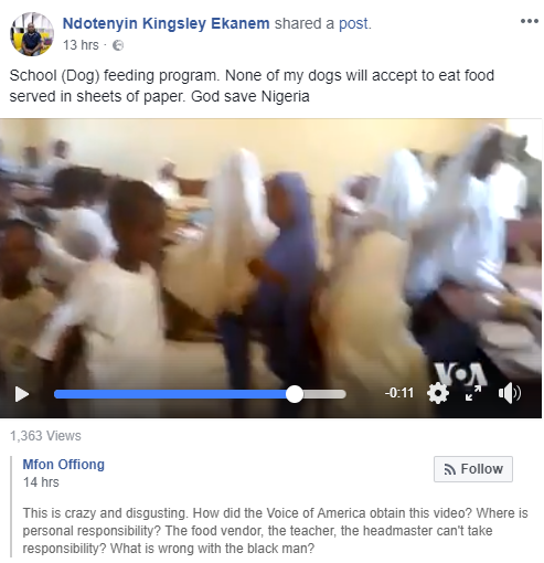 'None of my dogs will accept to eat food served in sheets of paper' - Angry Nigerian rubbishes FG's school feeding programme as video of pupils eating from paper surfaces online
