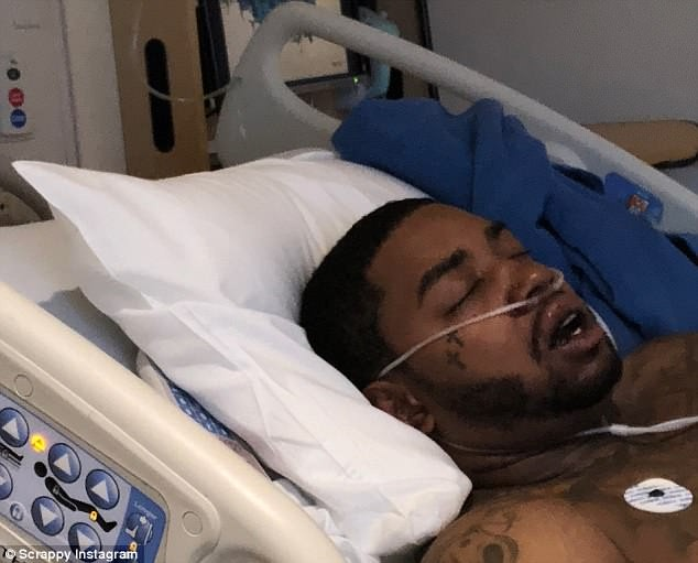US rapper Lil Scrappy injured and rushed to hospital in near-death car crash after falling asleep behind the wheel (Photos)