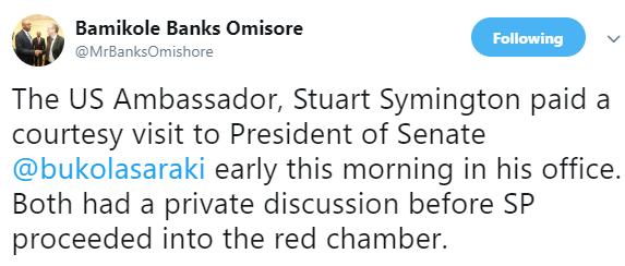 US Ambassador to Nigeria Stuart Symington in closed door meeting with Senate president Bukola Saraki