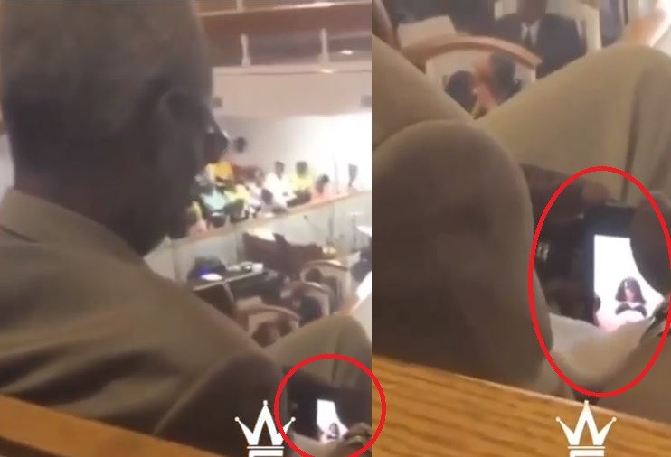 Video: Elderly man caught watching sexually explicit video during church service