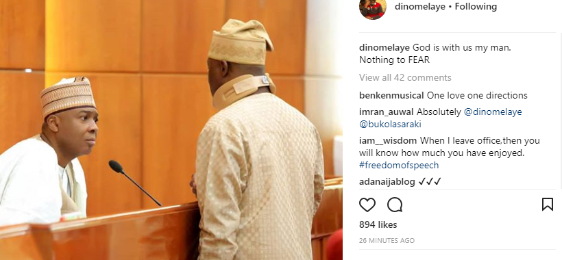 Dino Melaye shares photo with Bukola Saraki, captions it