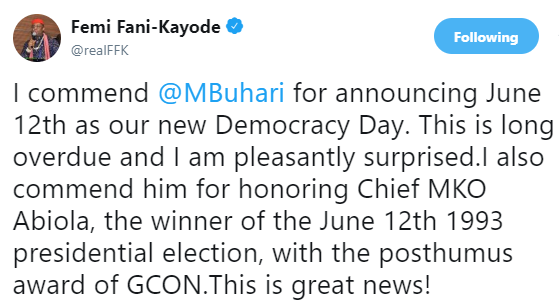 FFK commends President Buhari for declaring June 12th democracy day in honor of Abiola