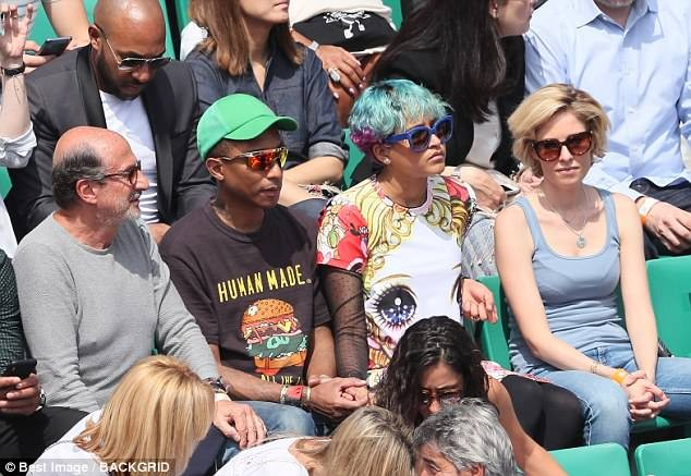 Pharrell Williams and his wife Helen Lasichanh pictured at French Open (Photos)