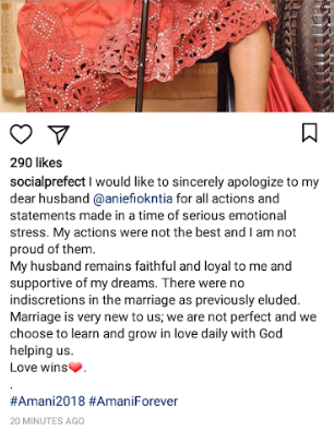 Tourism blogger, Chiamaka Obuekwe, apologizes to her husband weeks after she ended their 3-month-old marriage on Instagram and accused him of infidelity
