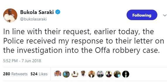 Offa Robbery: Bukola Saraki submits written response to Nigerian Police