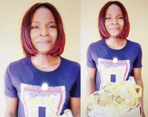 Photos: Woman apprehended while smuggling Indian hemp into Kuje prisons