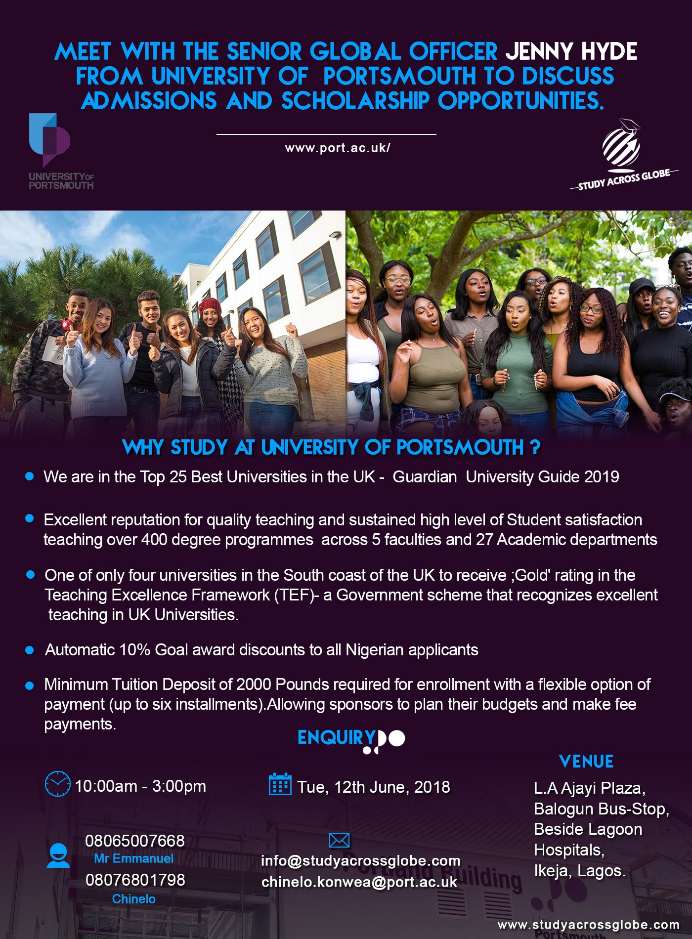 Meet with Jenny Hyde the Senior Global Officer from The University Of Portsmouth to discuss admissions