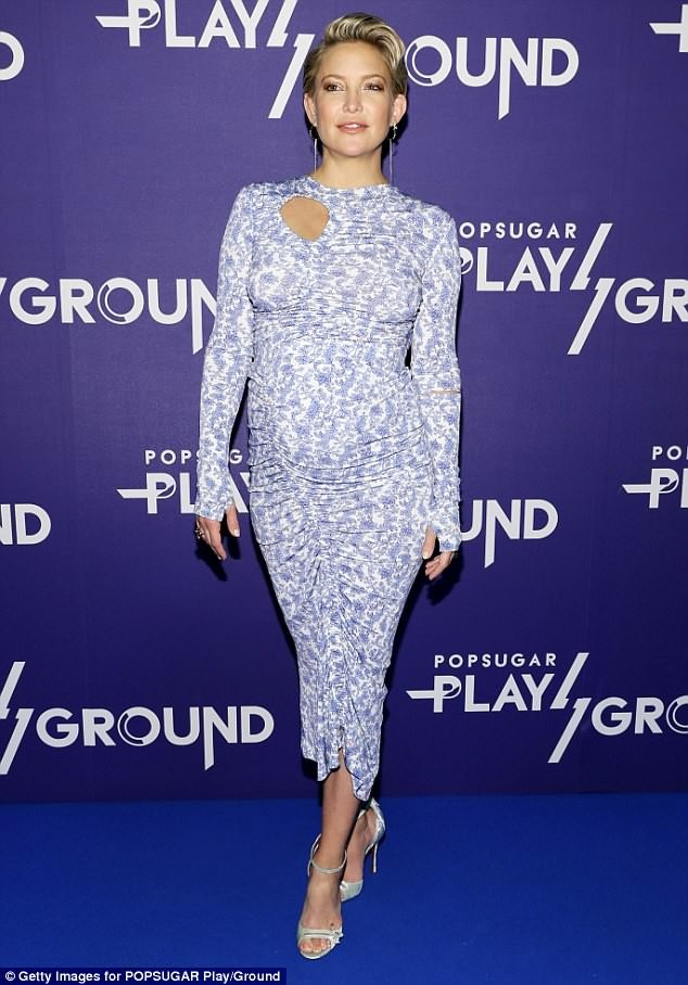 Pregnant Kate Hudson shows off her blooming bump in skintight?floral dress as she attends PopSugar event in NYC (Photos)