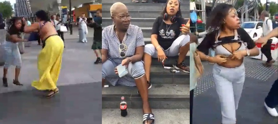 Nigerian women fight, tear their clothes at Stratford London(videos)