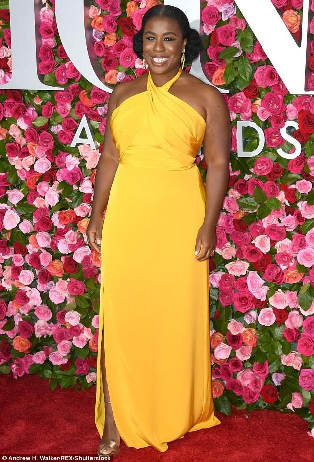 Uzo Aduba rocks custom canary halter gown to Tony Awards in New York City (Photos)