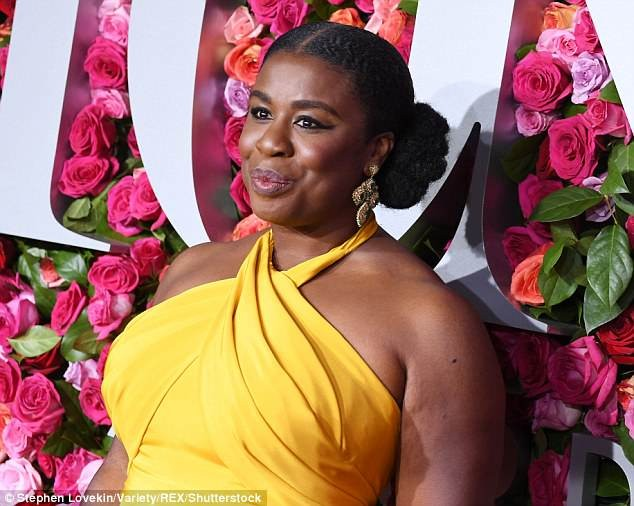 Uzo Aduba rocks custom canary halter gown to Tony Awards in New York City (Photos)