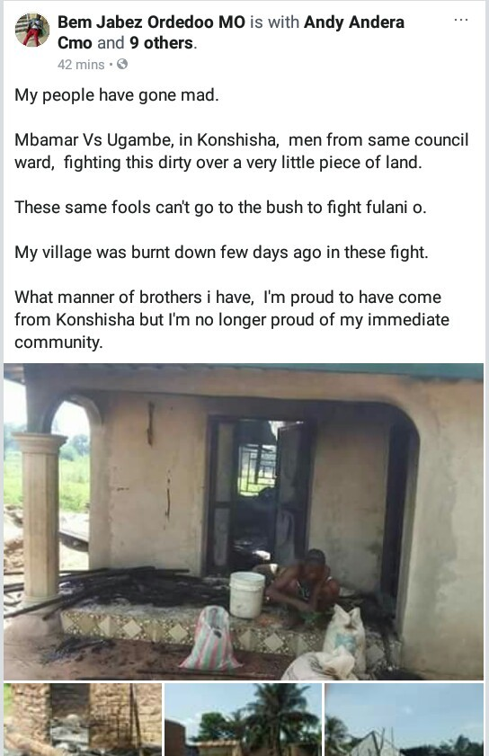 """My people have gone mad!"" - Man laments after his village was burnt down as two communities fight over a land"