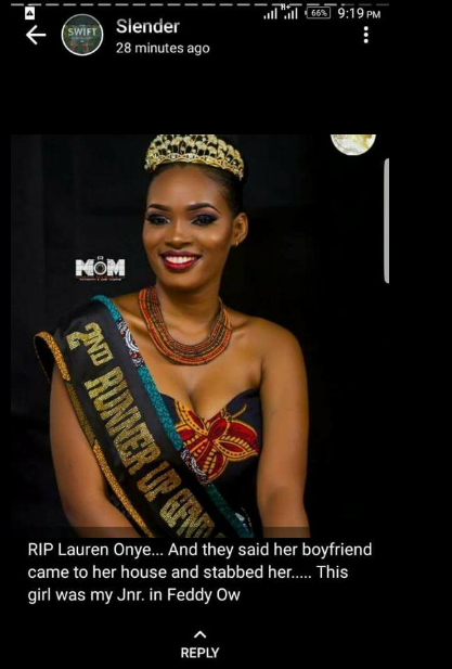 The real story behind the death of Lorraine Onye, 22, who was allegedly killed by her Naval officer boyfriend in Borikiri, Port Harcourt