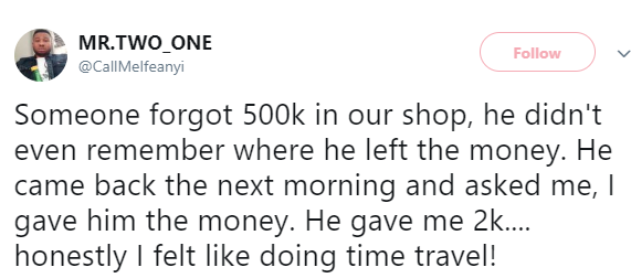 Man regrets returning missing 500K after the owner gave him only 2K as reward