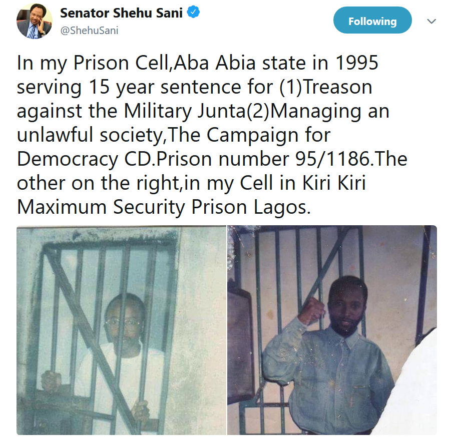 Senator Shehu Sani shares photos of himself in Abia and Kirikiri prisons