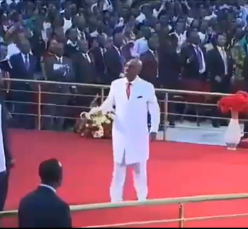 Bishop Oyedepo rejoices in church after member who had been declared dead for over a day was resurrected in the mortuary after prayers from his church (video)