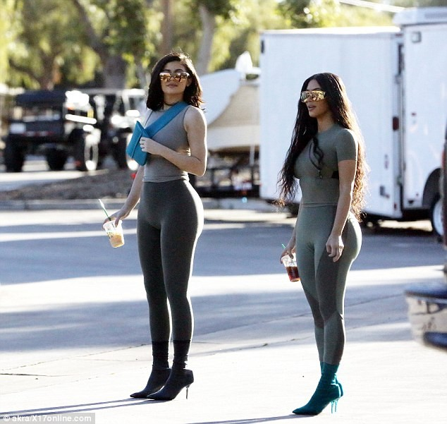 Kim Kardashian and Kylie Jenner flaunt their curves in matching skintight outfits in Calabasas (Photos)