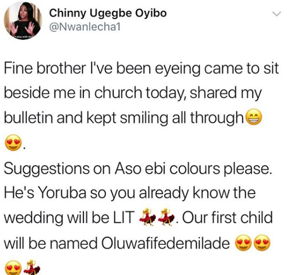 Hilarious! Smitten lady starts planning wedding and baby names after her crush sat beside her and smiled at her in church