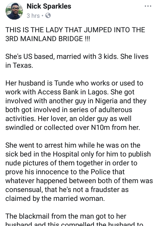 """Am alive"" woman alleged to have jumped into the lagoon beneath 3rd Mainland Bridge refutes rumors"