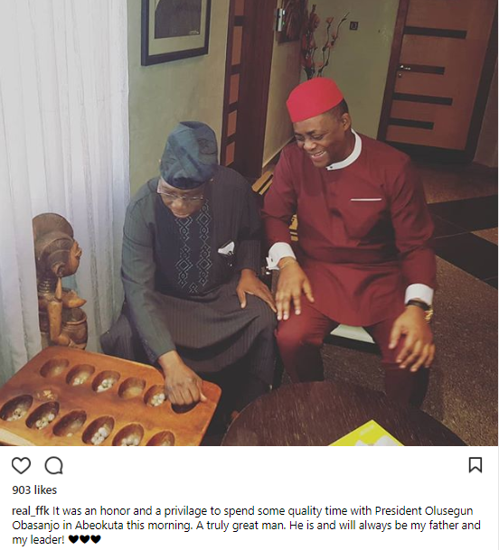 """He will always be my father and my leader!"" Femi Fani-Kayode says of Obasanjo as they play Ayo"